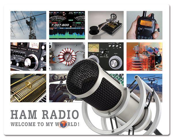 Radio Amateur muismatjes: PVC toplaag, extra dun (2mm) antislip onderkant. Bestel ref: MP001.