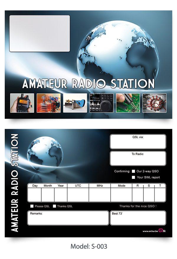 ON5UR QSL Printing - Standaard QSL kaarten verkrijgbaar vanaf 100 stuks - Standaard QSL kaarten kunnen overdrukt worden met uw gegevens.