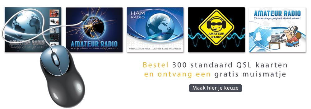 Muismatjes voor Radio Amateurs. Bestel 300 standaard QSL kaarten en ontvang een muismatje gratis.