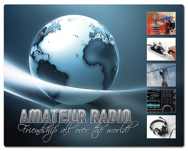 Radio Amateur muismatjes: PVC toplaag, extra dun (2mm) antislip onderkant. Bestel ref: MP006.